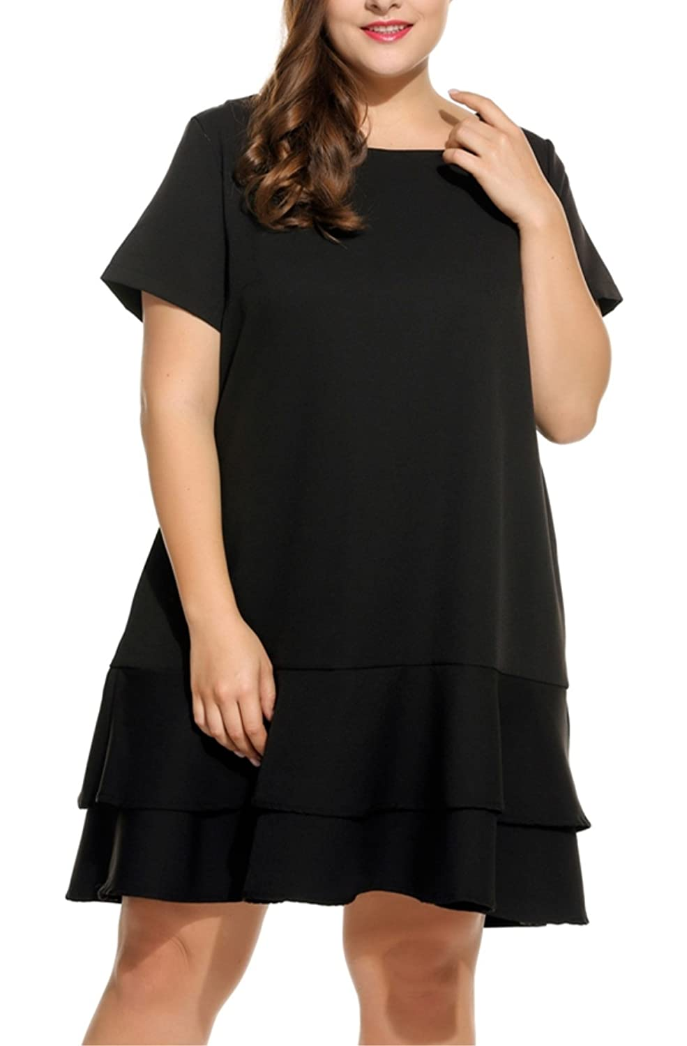 1920s Plus Size Dresses Kancystore Women Plus Size Short Sleeve Round Neck Solid Double Layer Ruffles Hem Dress L-4XL $25.99 AT vintagedancer.com