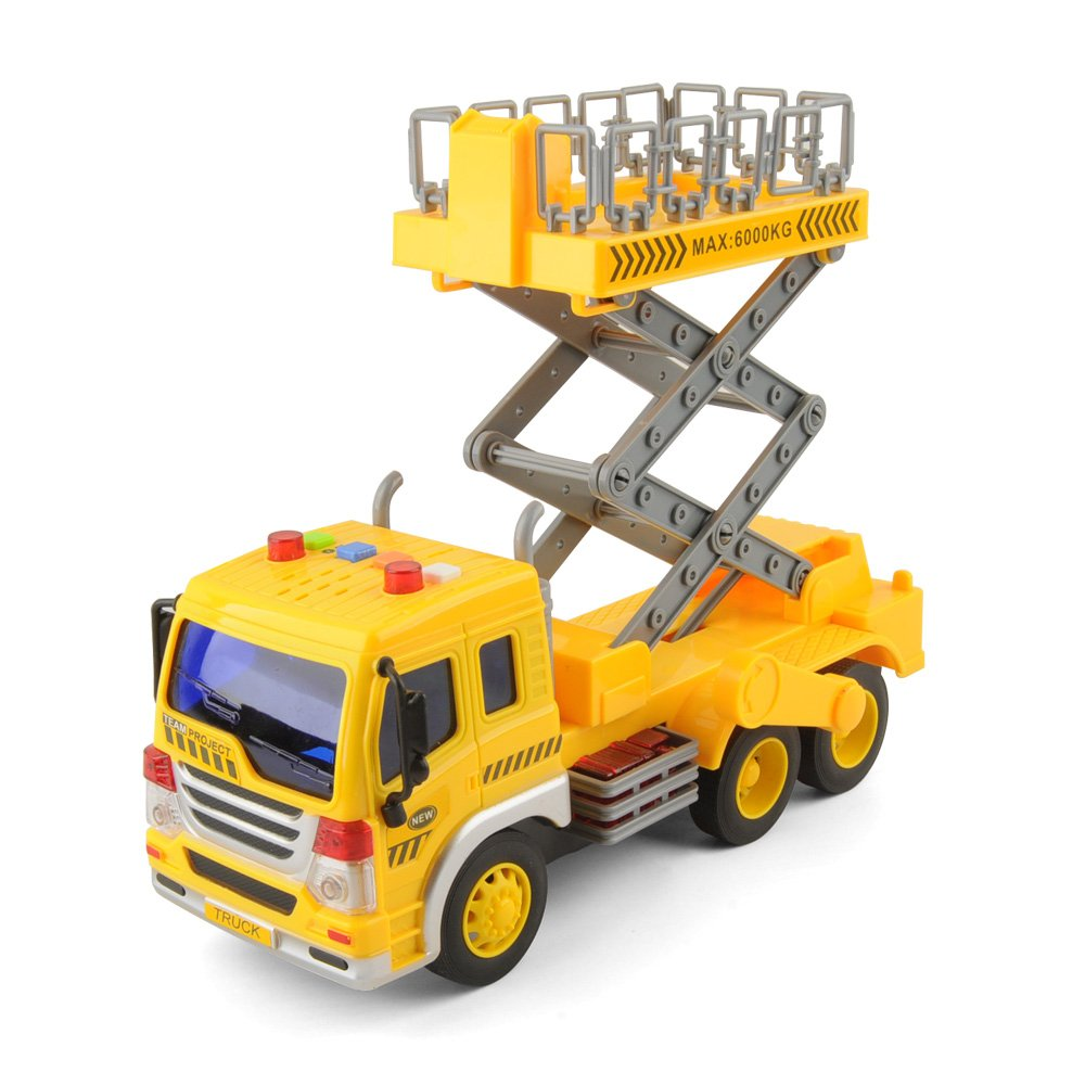 E T Friction Powered Lift Bucket Truck Toy, Super Duty Lift Construction Vehicle Toy for Kids, 1:16 Scale