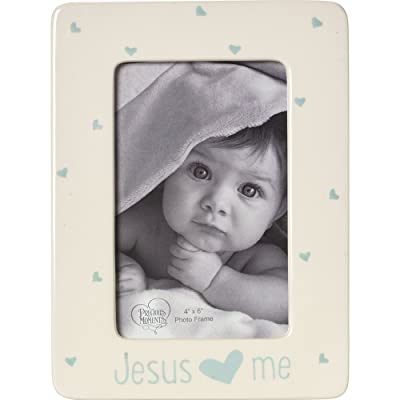 Precious Moments, Jesus Loves Me, Ceramic 4 x 6 Photo Frame, Boy, 164463: Home & Kitchen