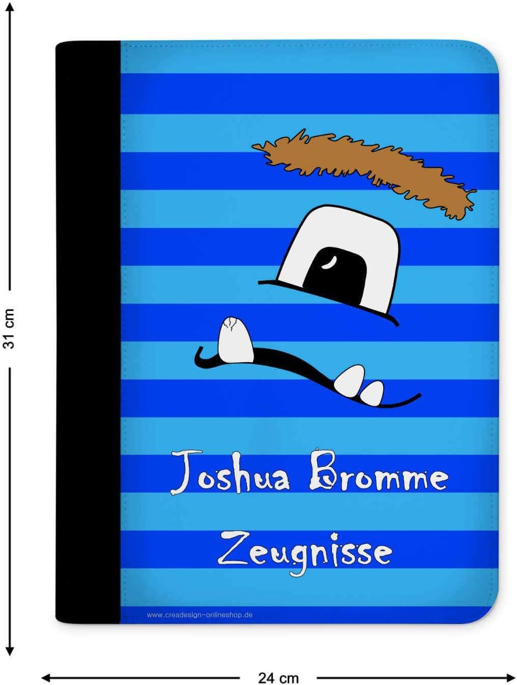CreaDesign Z-M-1136-09 Kinder Zeugnismappe mit Namen personalisiert A4 24 x 31 x 1 cm Motiv Pusteblume Brombeere R/ücken schwarz mit 10 Klarsichth/üllen