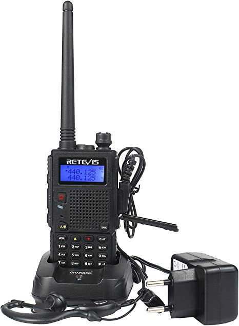 Retevis RT5R Walkie Talkie Doble Banda 128 Canales DTMF Radio FM VOX CTCSS//DCS Alcance de hasta 5 KM 5W Transmisores-receptores Radio Bidireccional con Original Auricular 1 Par, Negro