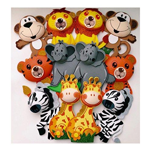 Big Size Set of 6 Safari Jungle Animals Foam Decoration Shower Party Favor (6 Big Animals) - Jungle Animal Foam