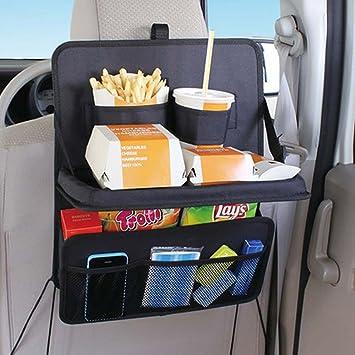 Coche Bandeja Mesa plegable de viaje para ecooltek Auto asiento trasero Organizador para respaldo de asiento de coche bebida alimentos portavasos juego de ...