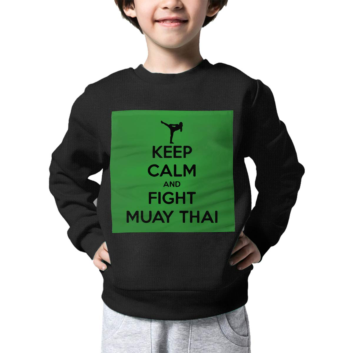 AW-KOCP Childrens Keep Calm and Fight Muay Thai Sweater Kids Outerwear