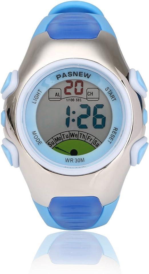 Reloj de pulsera infantil deportivo, multifuncional, digital, sumergible, retroiluminación EL, cronómetro, cronógrafo, alarma, da la hora, correa de piel sintética: Amazon.es: Relojes