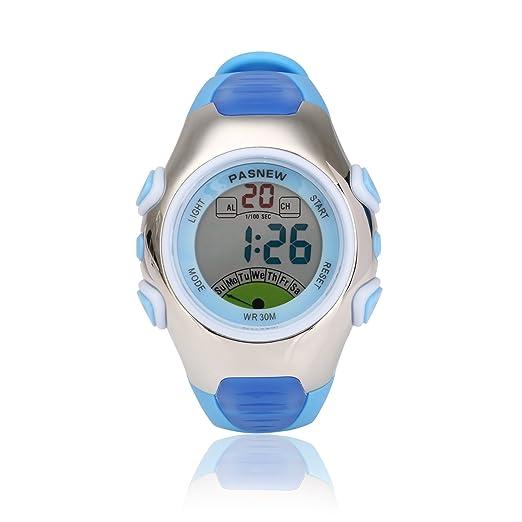 Reloj de pulsera infantil deportivo, multifuncional, digital, sumergible, retroiluminación EL, cronómetro, cronógrafo, alarma, da la hora, correa de piel ...