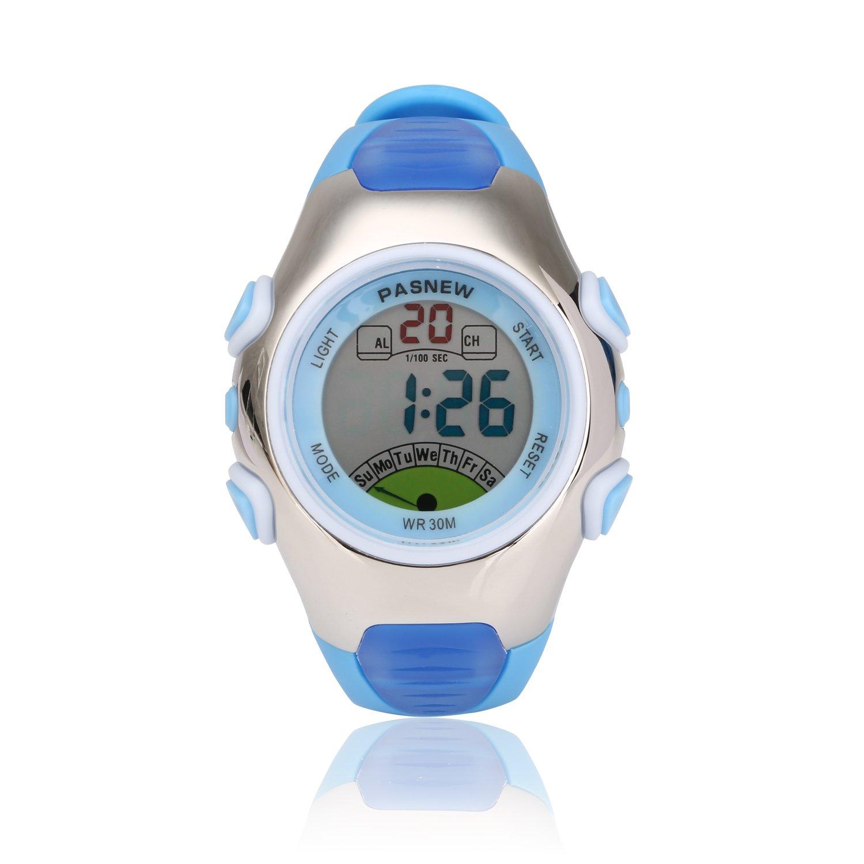 Kids Sport Watch | Multifunctional Wrist Clock | Digital Display | Waterproof| EL Backlight | Stopwatch | Chronograph | Alarm | Chime | PU Strap for Children Boys Girls (Blue)