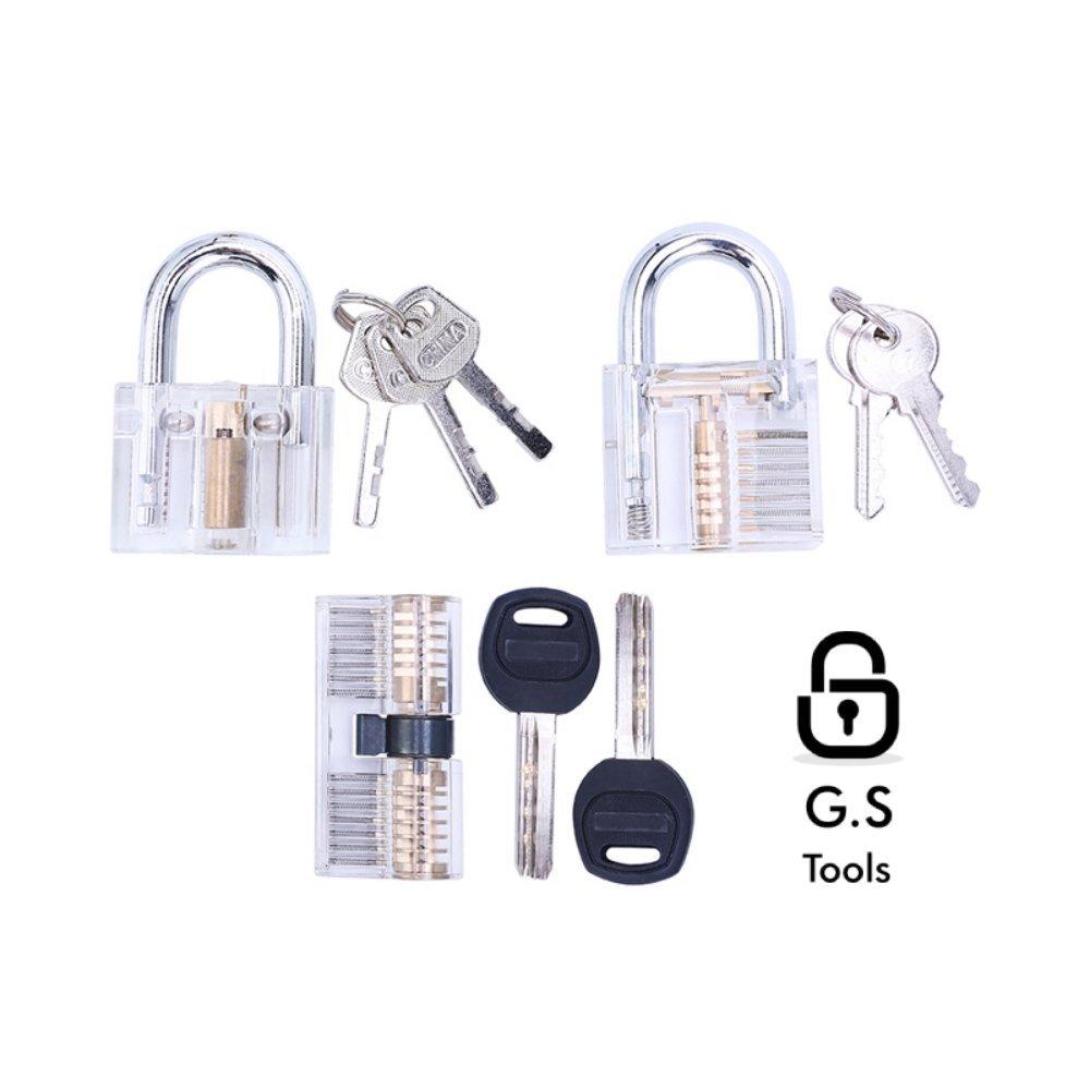 G.S Tools Educational Transparent Cutaway Practice Lock Set, 3 Locks in 1 Set, Locksmith Education
