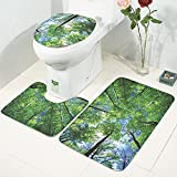 Pawaca 3 Piece Bathroom Rug Mats Set, Soft Slip-Resistant Water Absorption 3D Pattern with Bath Mat,Contour Rug and Toilet Lid Cover (Woods Pattern)