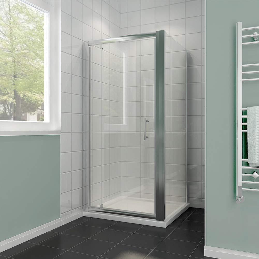 Elegant 700 X Mm Pivot Hinge Shower Enclosure 6mm Safety Glass Screen Reversible Cubicle Door With Side Panel Set Co Uk Kitchen Home