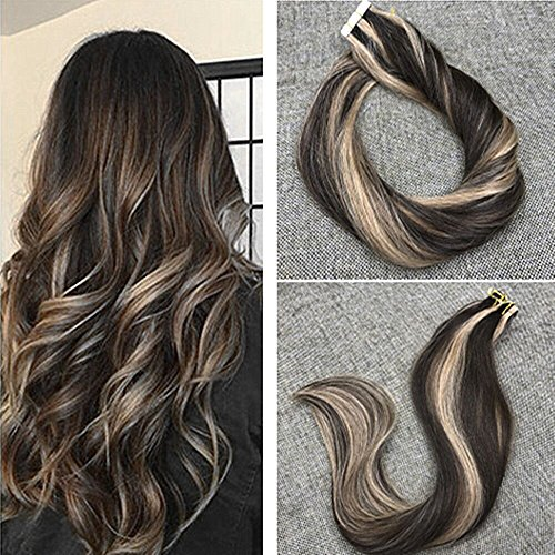 Ugeat 24inch Adhesive Tape in Hair Extensions Piano Color 4# with #27 Caramel Blonde Seamless Skin Weft Double Side Brazilian Remy Hair Extensions 50Gram (Advantage Caramel Double Chocolate)