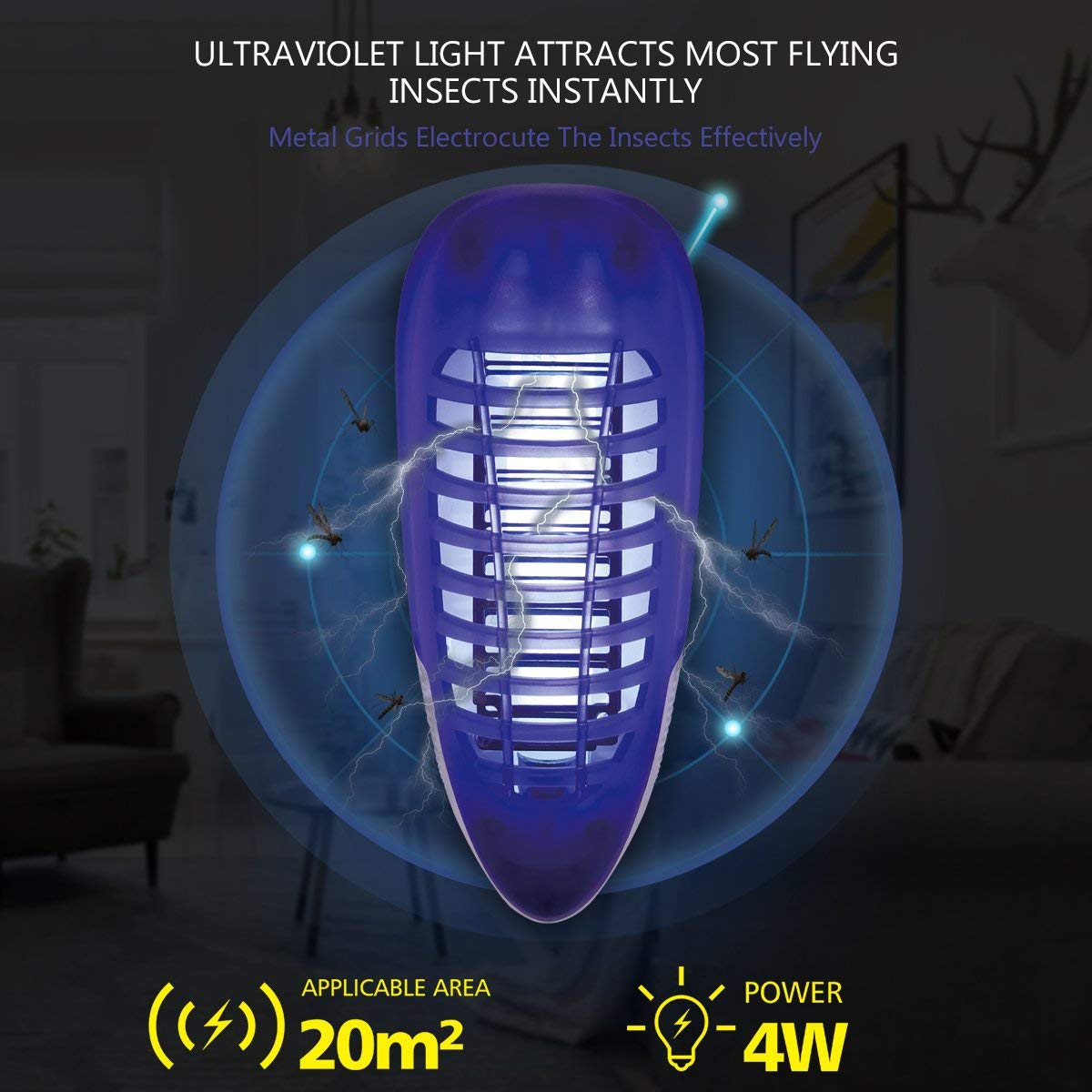 Mosquito Killer for Indoor Use,Fly Killer for Bedroom and Kitchen 4W Plug-in Portable Fly Trap YUNLIGHTS Bug Zapper Light