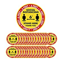 """30 Pack Social Distancing Floor Decal Stickers - 8"""" Round Safety Floor Sign, 6 Feet Safety Distancing Signs, Waterproof and Easy Remove Specialized Sticker for Crowd Control Guidance Stand Decal"""