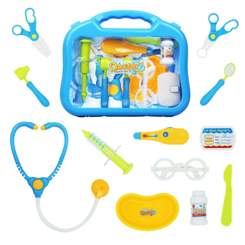 jerryvon Doctor Kit Medical Accessories Set for Kids Role Play Games Party Favor Toys Electronic Doctor Equipment Packed in Durable Gift Case (New)