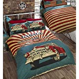 Bedding Heaven Reversible Retro Garage Duvet Cover Set. Stars and Stripes Reverse Quilt Cover and Pillowcases (Double) by Bedding Heaven
