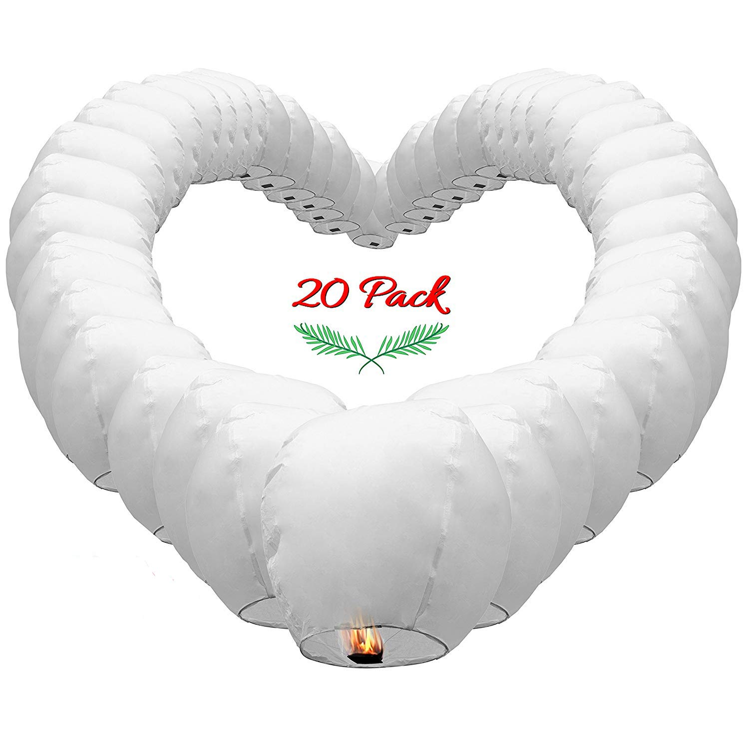 Chinese Sky Lanterns White Paper (20) Pack - Ready to Use and Eco Friendly - Extra Large - 100% Biodegradable Wire Free - Beautiful Lantern for Weddings, Chinese Festival, Memorials, etc.