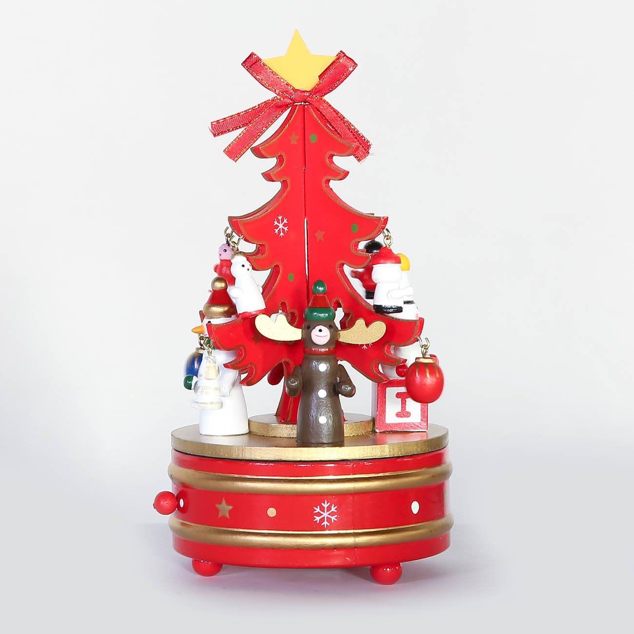Caja musical de madera con forma de árbol de Navidad de Luyue: Amazon.es: Hogar