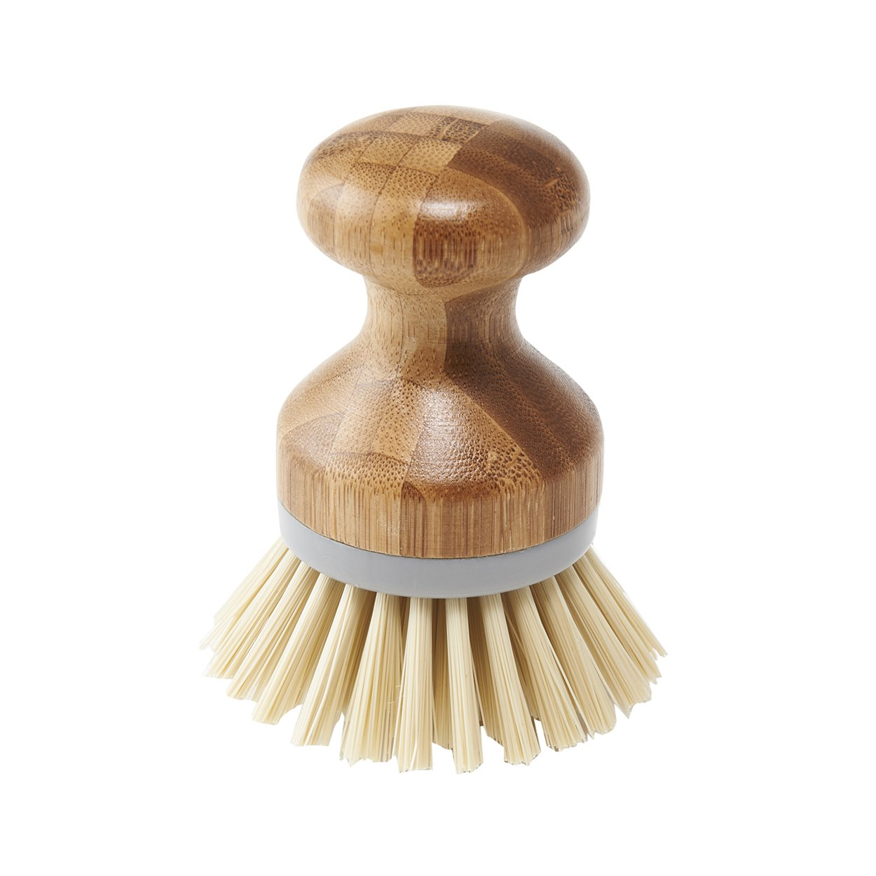 Addis Palm Dish Brush Natural and Grey, Bamboo, Grey/Wood, 6.7 x 6.7 x 9 cm
