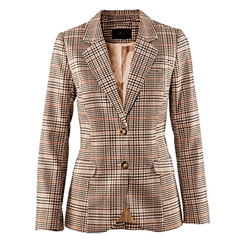 Women's Vintage Two Button Plaid Blazer Elbow Patch Slim Fit Long Blazer Jacket Khaki