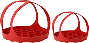Mystery 2pcs Silicone Pressure Cooker Sling Lifter, Silicone Steamer Rack Bakeware Sling for 6Qt/8Qt 3Qt Instant Pot Other Multi Function Cookers Silicone Pressure Cooker Egg Rack Accessories, Red