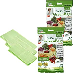 Debbie Meyer GreenBags - Reusable BPA Free Food Storage Bags, Keep Fruits and Vegetables Fresher Longer in these GreenBags! 40pc Set (16M, 16L, 8XL)