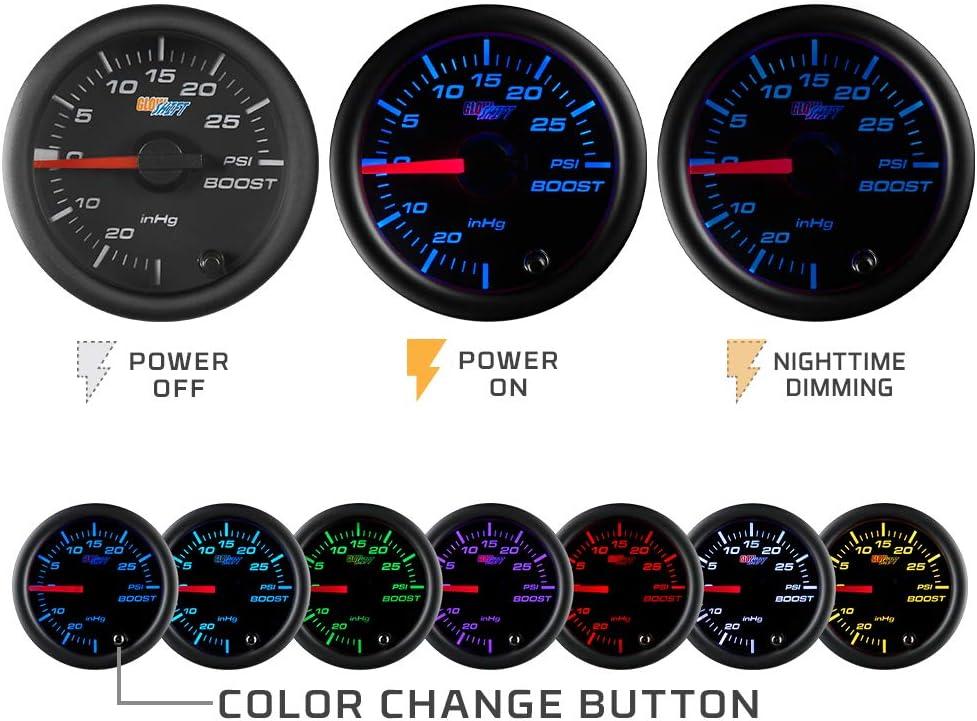 Black Dial Includes Electronic Sensor Clear Lens GlowShift Black 7 Color 100 PSI Fuel Pressure Gauge Kit 2-1//16 52mm for Car /& Truck