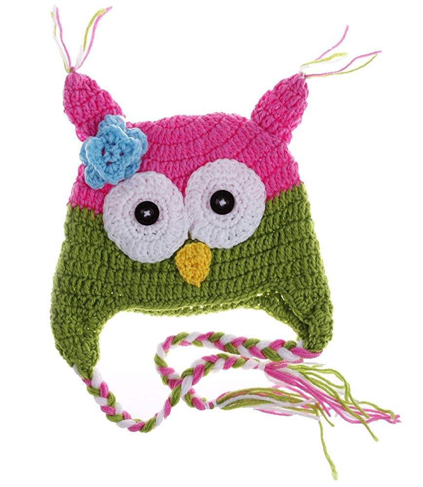 Jtc Baby Owl Knit Caps Cartoon Weave Animal Hats Toddler Rose Red Green