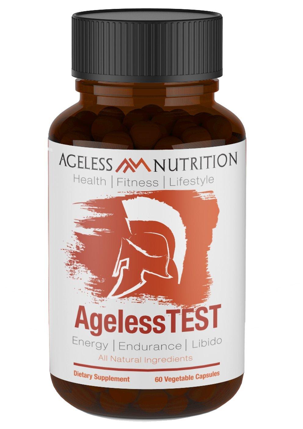 AgelessTEST - Premium Energy & Performance Enhancing Formula - All Natural Supplements, Horny Goat Weed, Vitamin D, Zinc, Tribulus Terrestris, Ashwagandha, and Fenugreek- 60 Veggie Capsules