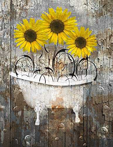 Rustic Bath Sunflowers Bubbles Wall Art 8x10 inch with 11x14 inch White Mat Original Country Farmhouse Decor by littlepiecreations