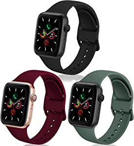 TSAAGAN 3 Pack Silicone Sport Band Compatible for Apple Watch Band 38mm 40mm 42mm 44mm, Soft Replacement Wristband Strap Accessory for iWatch Series SE/6/5/4/3/2/1