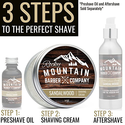 Shaving Cream for Men – With Natural Sandalwood Essential Oil – 5 oz Hydrating, Anti-inflammatory Rich & Thick Lather for Sensitive Skin & All Skin Types by Rocky Mountain Barber Company – 5 Ounce by Rocky Mountain Barber Company (Image #5)