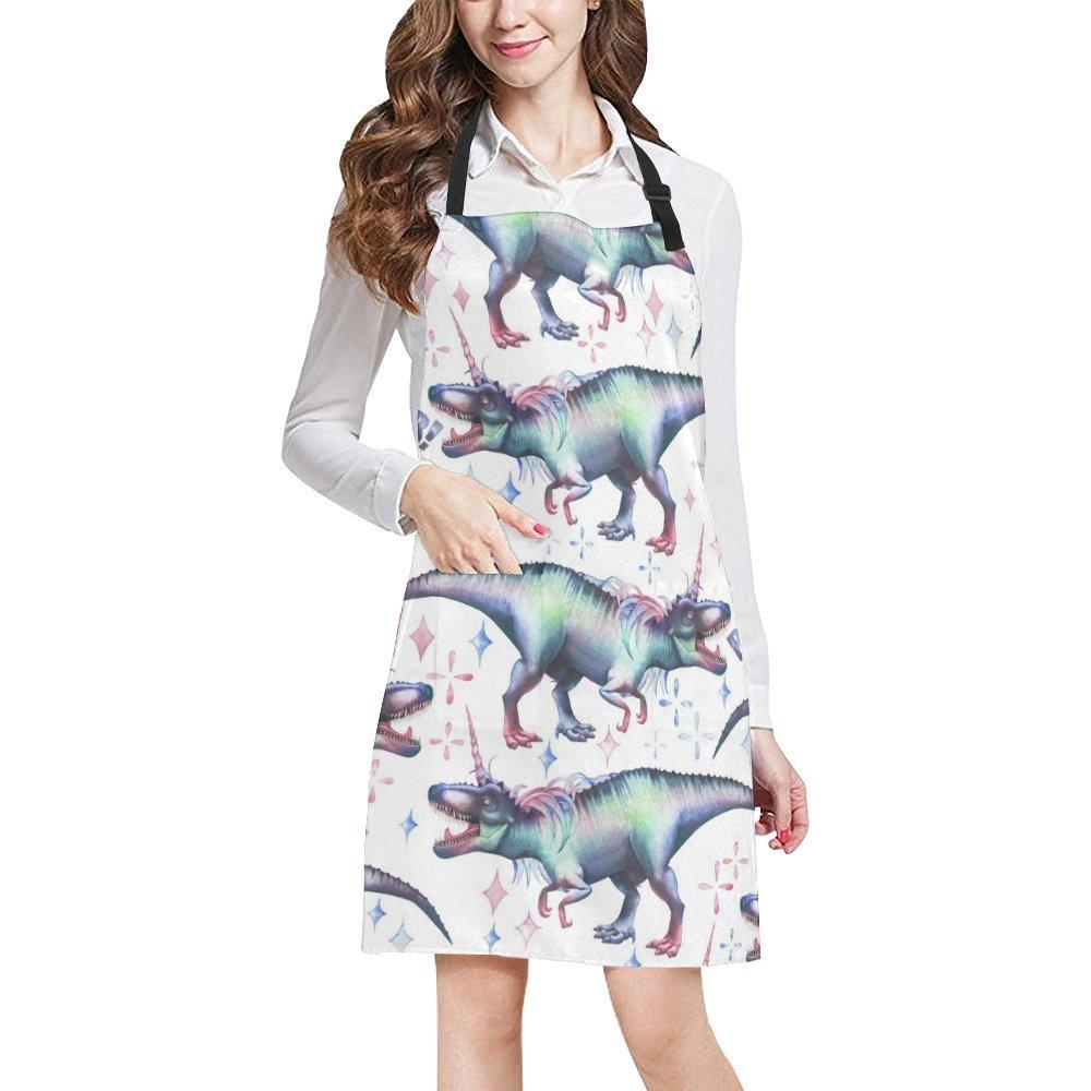InterestPrint Watercolor Dinocorns Dinosaur with Unicorn Horns Chef Aprons Professional Kitchen Chef Bib Apron with Pockets Adjustable Neck Strap, Plus Size