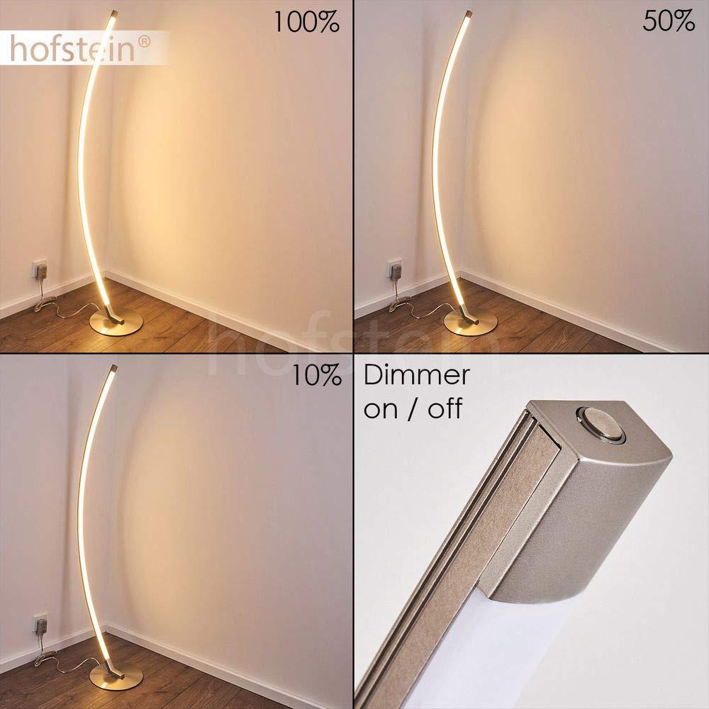 Bodenlampe im au/ßergew/öhnlichen Design 3000 Kelvin 25.000 Stunde Moderne Stehlampe aus Metall in Nickel matt mit gebogenem Lampenschirm 800 Lumen mit Touchdimmer LED Stehleuchte Playa