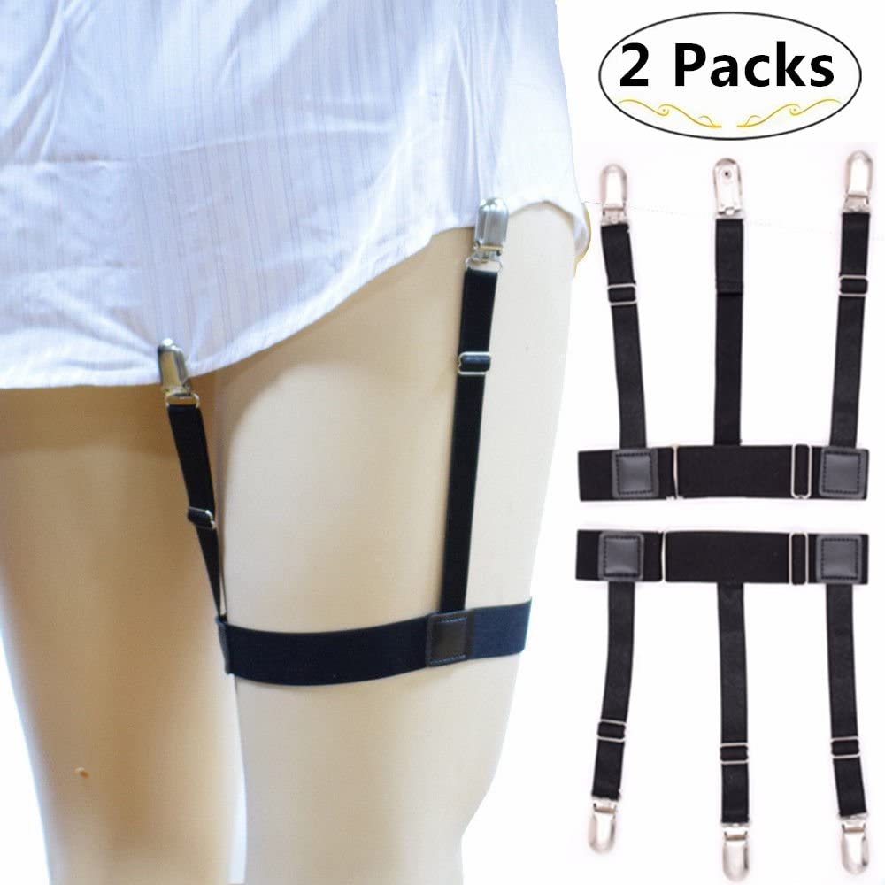 Magnolora 1 Pair Men Adjustable Shirt Stays Elastic Shirt Suspenders Shirt Holder Straps Garters Belt Holder With Non-Slip Locking Clamps for Suit or Uniform Including Military or Police