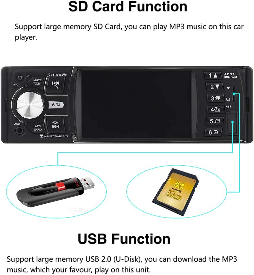 Electronics CarThree Car Stereo MP5 Player 4.1 inch TFT 1080P ...