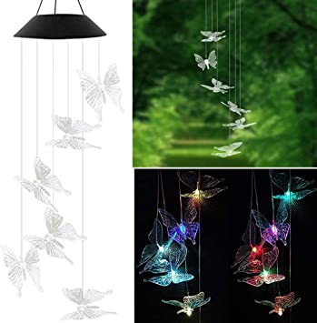Solar Powered LED Hanging Wind Chimes Colour Changing Garden Fairy Decor Light