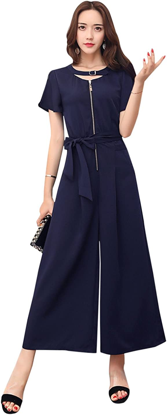 Tanming Womens Elegant Choker Neck Belted Wide Leg Rompers Jumpsuits