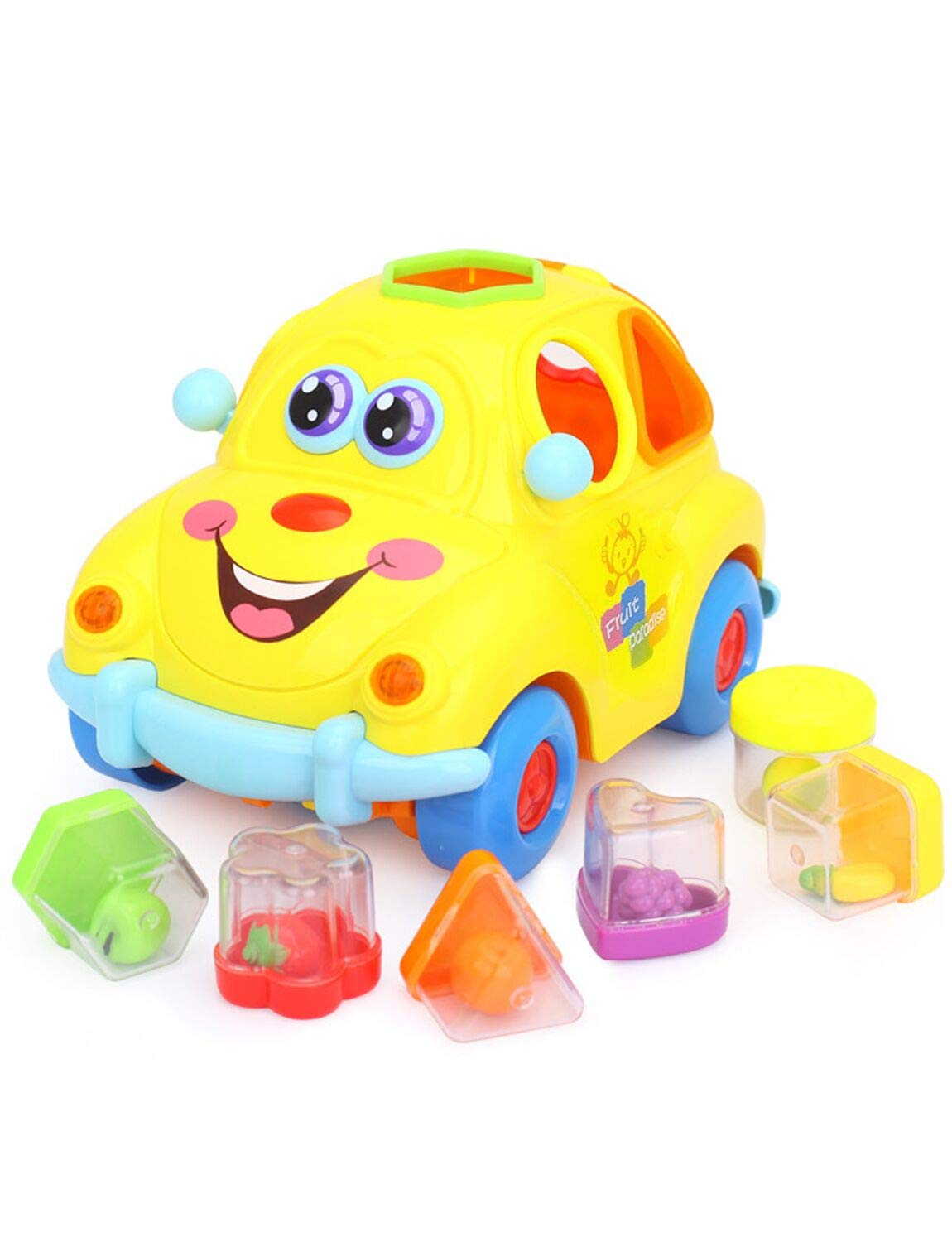 VIVIDEA Lovely Cartoon Intelligent Fruit Car Toy Learning Vehicle Plaything Omni-Direction Moving with Colorful Fruit Blocks, Music and Light for Kids Children Girls & Boys 18+ Months