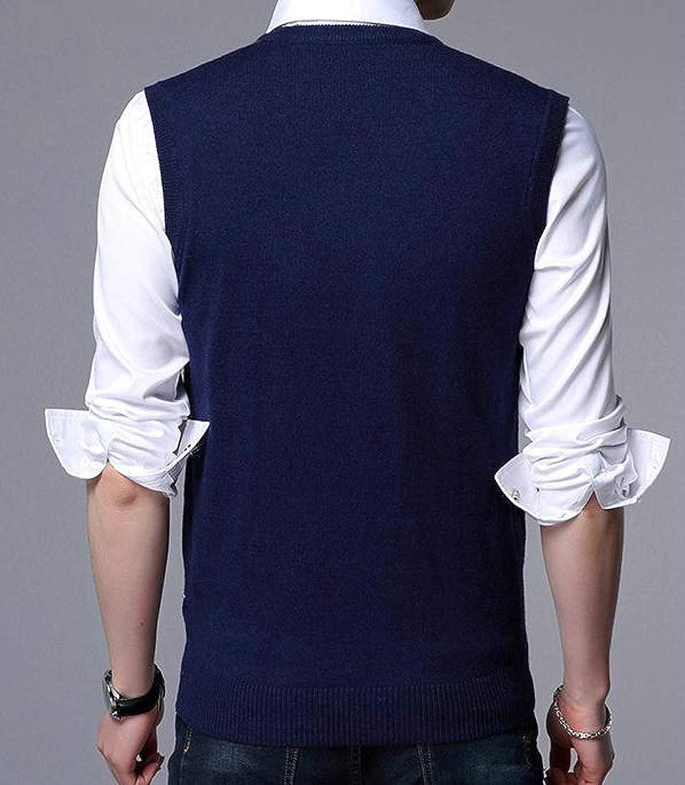 Pluszing Mens Argyle Slim Knitted Waistcoat Sleeveless Sweater Vest