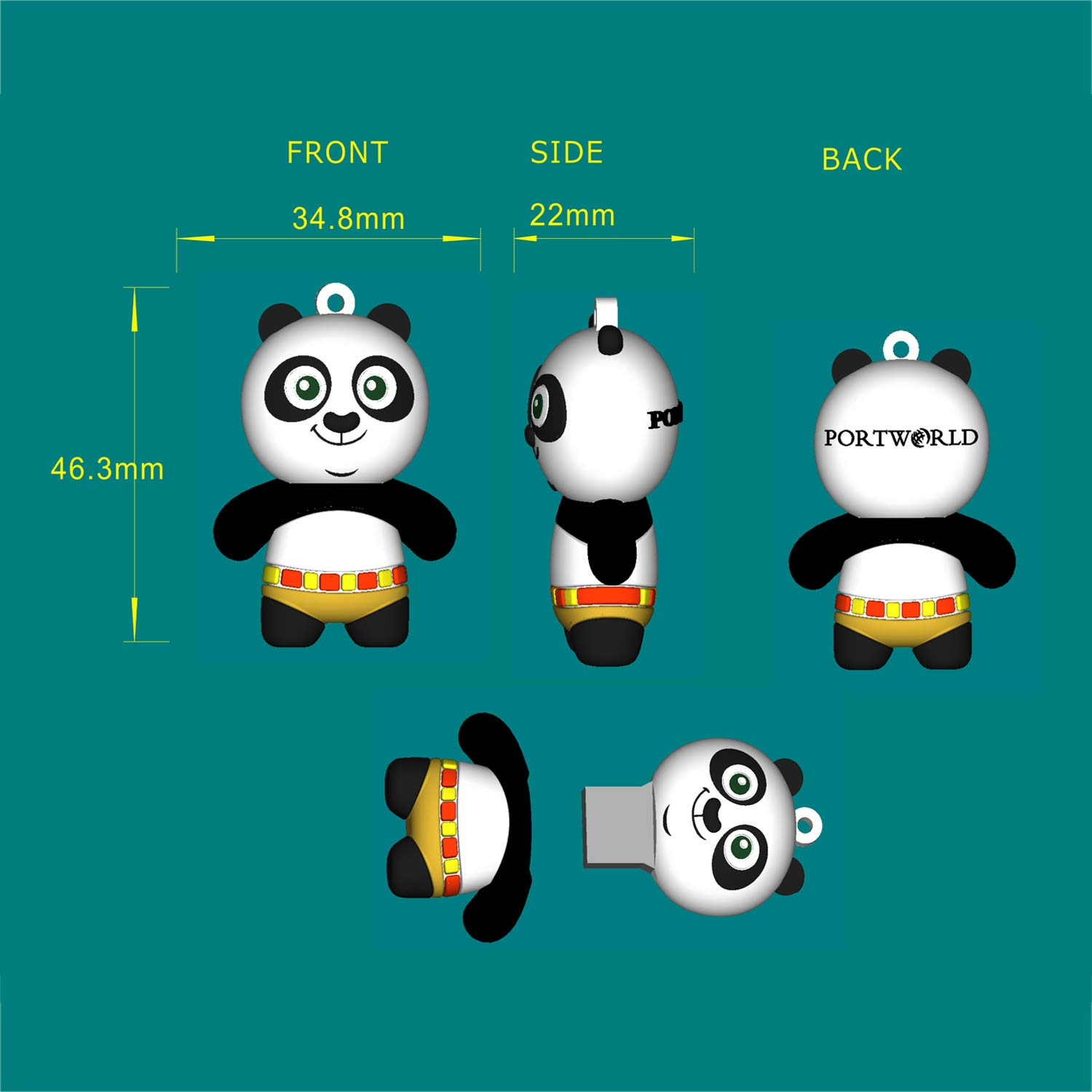 16GB Cartoon Flash Drive USB 2.0 Cute Animal Thumb Drive Jump Drive Memory Stick with Keychain for Friends, Panda