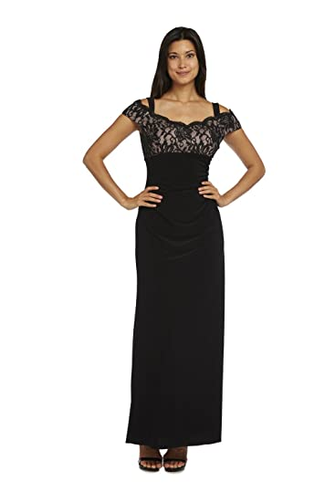 Rm Richards Black Off The Shoulder Lace Top Long Dress At Amazon