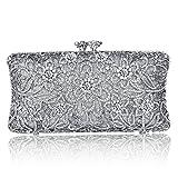 Sparkle Crystal Flower Rhinestone Evening Clutch Bag Fashion Purse Silver Kiss Lock Handbags (Silver)