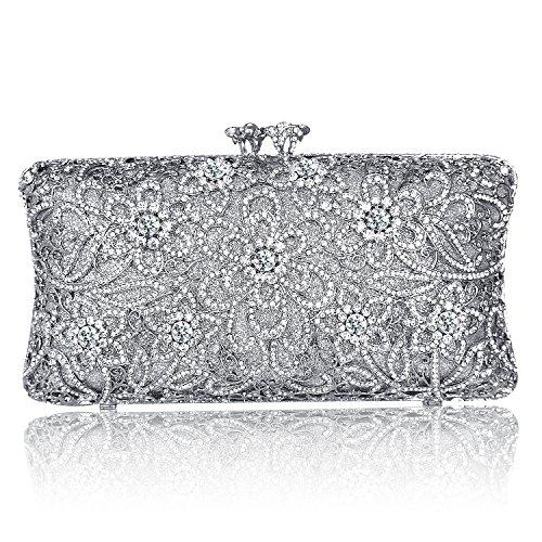 Sparkle Crystal Flower Rhinestone Evening Clutch Bag Fashion Purse Silver Kiss Lock Handbags (Silver) by Digabi