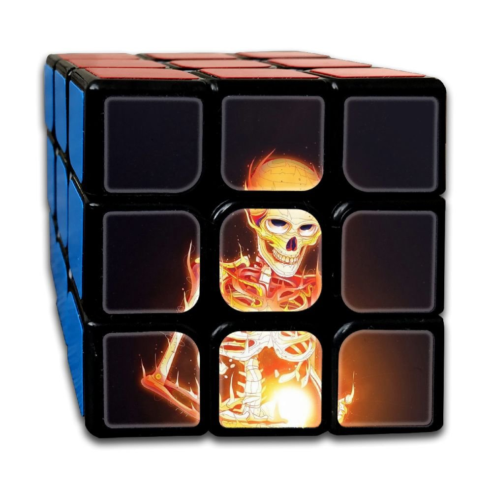 AVABAODAN Fire Skull Rubik's Cube Original 3x3x3 Magic Square Puzzles Game Portable Toys-Anti Stress For Anti-anxiety Adults Kids