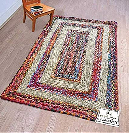 Avioni Home Cotton Chindi-Jute Mix Braided Area Rug, Handmade By Skilled Artisans