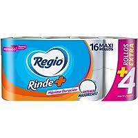 Regio Regio Papel Higiénico Rinde+, 12 Rollos + 4 Rollos Gratis, 280 Hojas Dobles, color, 16 count, pack of/paquete de
