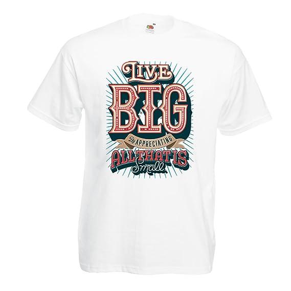 lepni.me Camisetas Hombre Live Big - Las Frases de Motivación Famosas (Small Blanco