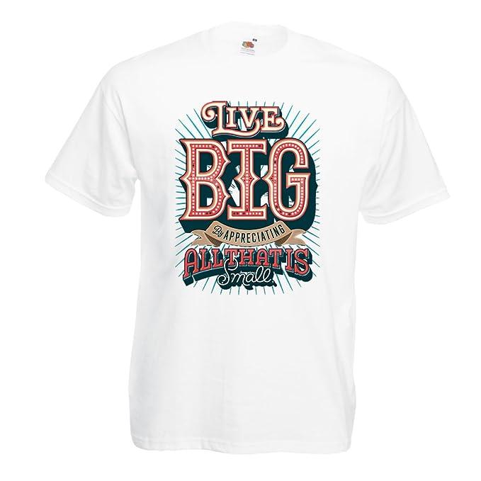 lepni.me Camisetas Hombre Live Big - Las Frases de motivación Famosas: Amazon.es: Ropa y accesorios