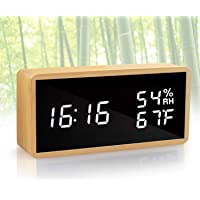KABB Alarm Clock, Digital Clock, Natural Bamboo Material LED Desk Clock with Triple Alarms, Adjustable Brightness…