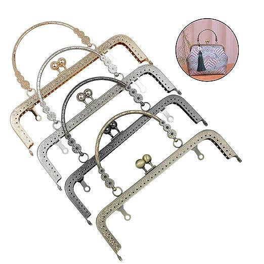 GuoFa Monedero de metal, cierre de broche de beso, 20 cm ...